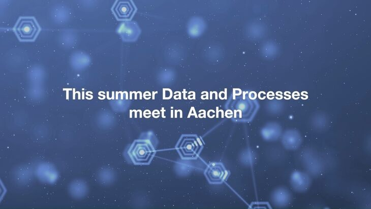 "Text ""This summer, Data and Process Mining meet in Aachen"", graph representation in background"