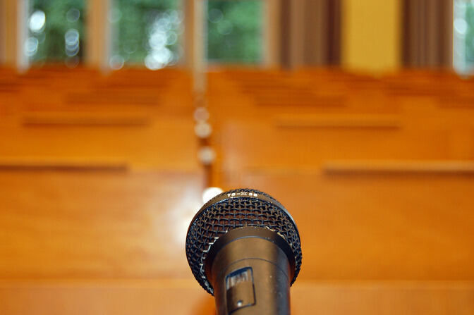 Lecture hall with microphone