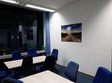 View of a training room with a big panorama window